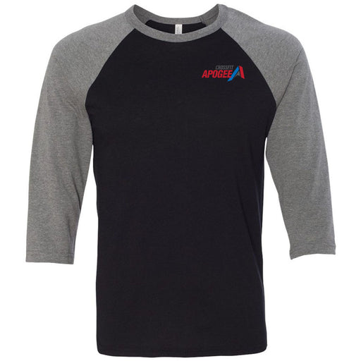 Crossfit Apogee - 100 - Pocket - Bella + Canvas - Men's Three-Quarter Sleeve Baseball T-Shirt