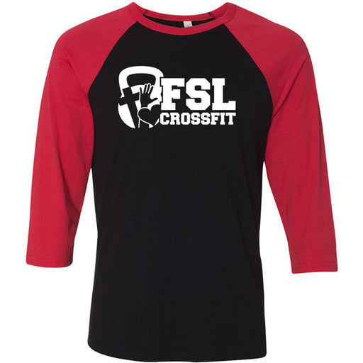 FSL CrossFit - 100 - White - Bella + Canvas - Men's Three-Quarter Sleeve Baseball T-Shirt