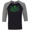G-Theory CrossFit - 100 - Standard Gradient - Bella + Canvas - Men's Three-Quarter Sleeve Baseball T-Shirt