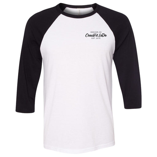 CrossFit Lodo - 100 - Pocket - Bella + Canvas - Men's Three-Quarter Sleeve Baseball T-Shirt