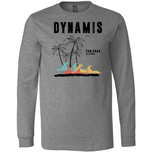 Dynamis CrossFit - 100 - Palm Tree Black - Bella + Canvas 3501 - Men's Long Sleeve Jersey Tee