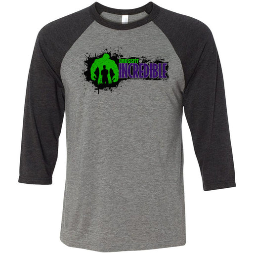 CrossFit Incredible - 100 - Horizontal - Bella + Canvas - Men's Three-Quarter Sleeve Baseball T-Shirt