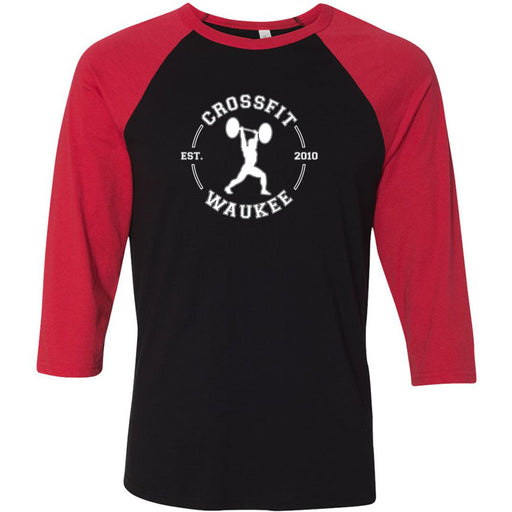 CrossFit Waukee - 100 - Lifter Round - Bella + Canvas - Men's Three-Quarter Sleeve Baseball T-Shirt