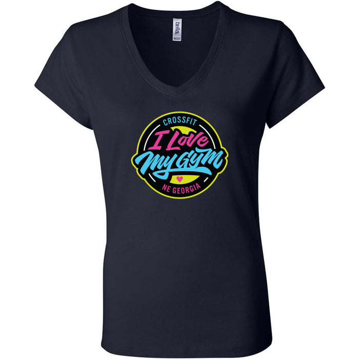 CrossFit NE Georgia - 100 - I Love My Gym - Bella + Canvas - Women's Short Sleeve Jersey V-Neck Tee