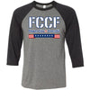Flower City CrossFit - 100 - FCCF - Bella + Canvas - Men's Three-Quarter Sleeve Baseball T-Shirt