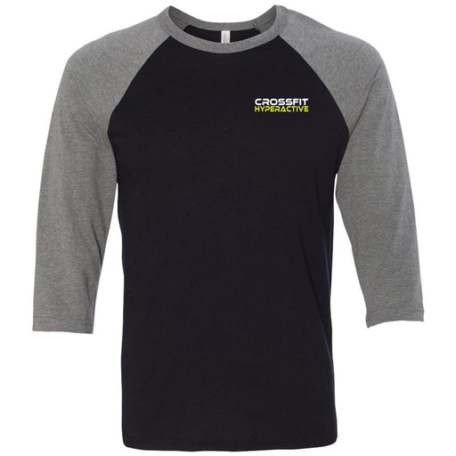 CrossFit Hyperactive - 100 - Pocket - Bella + Canvas - Men's Three-Quarter Sleeve Baseball T-Shirt