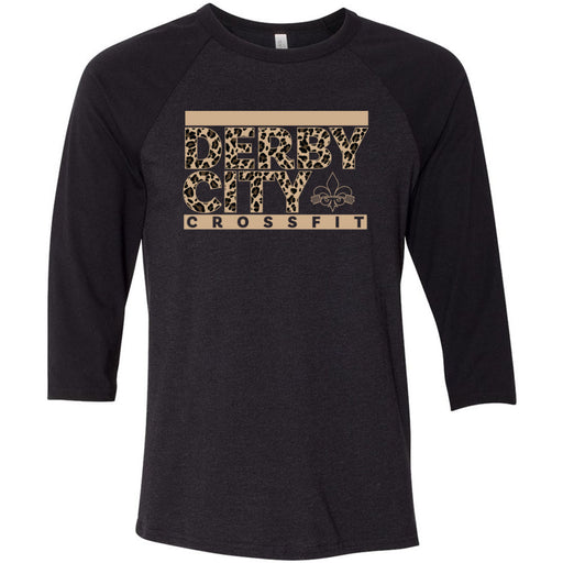 Derby City CrossFit - 202 - Leopard - Bella + Canvas - Men's Three-Quarter Sleeve Baseball T-Shirt
