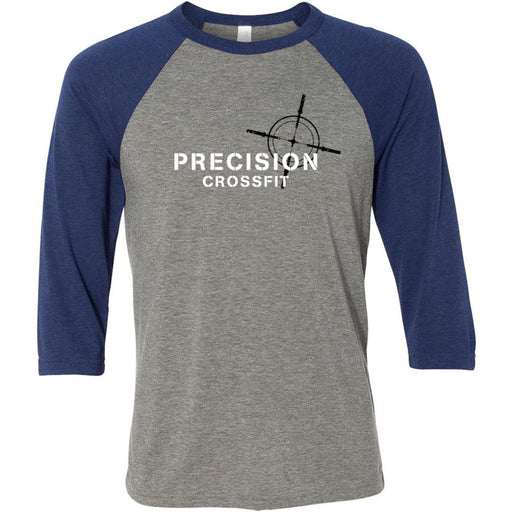 Precision CrossFit - 202 - White - Bella + Canvas - Men's Three-Quarter Sleeve Baseball T-Shirt