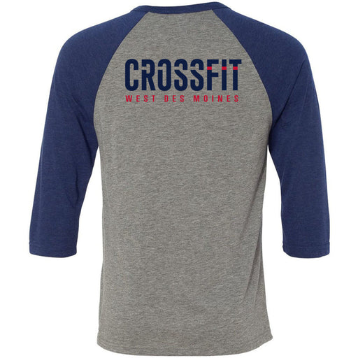 CrossFit West Des Moines - 202 - CFWDM - Bella + Canvas - Men's Three-Quarter Sleeve Baseball T-Shirt