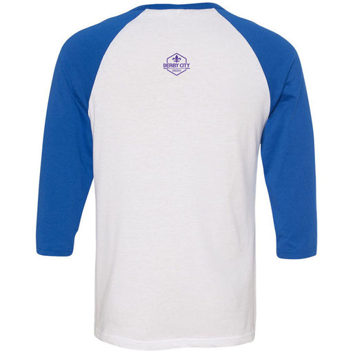 Derby City CrossFit - 202 - Nirvana Blue - Bella + Canvas - Men's Three-Quarter Sleeve Baseball T-Shirt