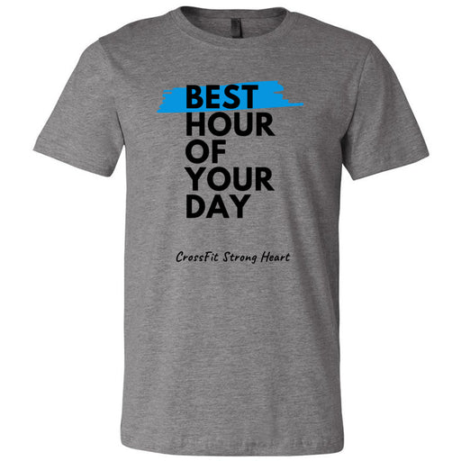 CrossFit Strong Heart - 100 - Best Hour of Your Day Stacked - Bella + Canvas - Men's Short Sleeve Jersey Tee
