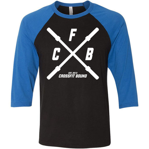 CrossFit Bound - 100 - Barbell - Bella + Canvas - Men's Three-Quarter Sleeve Baseball T-Shirt