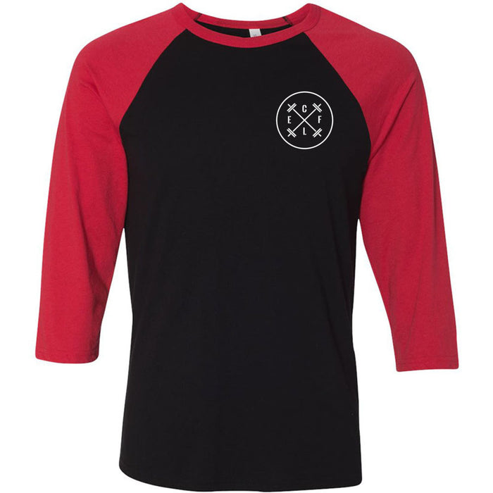 CrossFit L'Engrenage - 202 - Pocket - Bella + Canvas - Men's Three-Quarter Sleeve Baseball T-Shirt