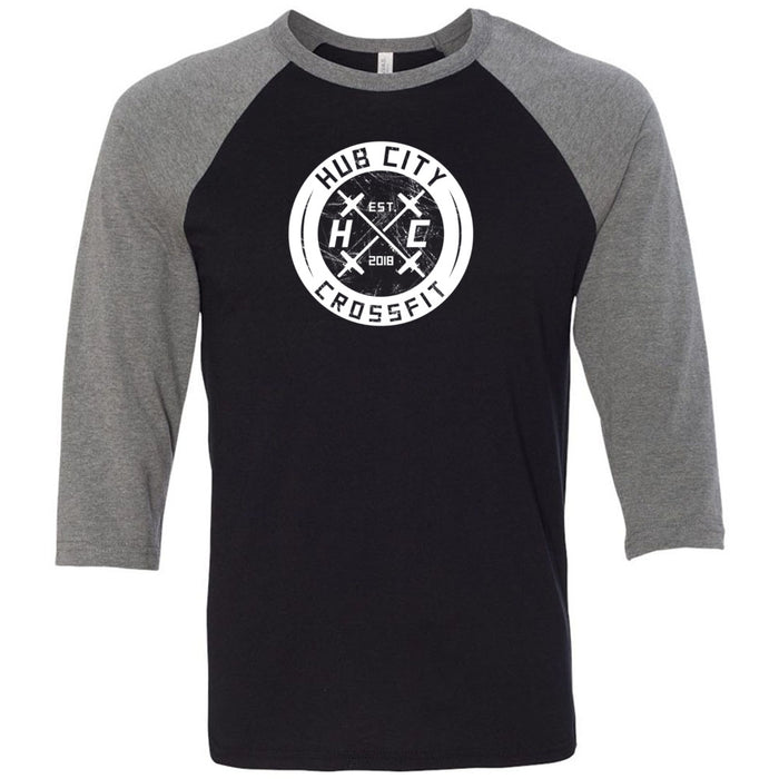 Hub City CrossFit - 100 - Standard One Color - Bella + Canvas - Men's Three-Quarter Sleeve Baseball T-Shirt