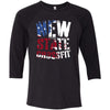 New State CrossFit - 100 - Flag - Bella + Canvas - Men's Three-Quarter Sleeve Baseball T-Shirt