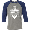 CrossFit Helix - 100 - Strong And Courageous - Bella + Canvas - Men's Three-Quarter Sleeve Baseball T-Shirt