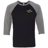 CrossFit Bearden - 202 - Cursive - Bella + Canvas - Men's Three-Quarter Sleeve Baseball T-Shirt