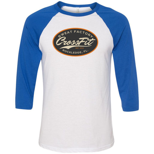 Sweat Factory CrossFit - Rockledge - 100 - DD3 - Bella + Canvas - Men's Three-Quarter Sleeve Baseball T-Shirt