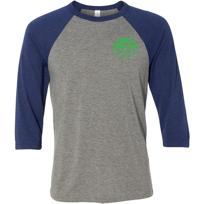 CrossFit Oahu - 202 - Tattoo - Bella + Canvas - Men's Three-Quarter Sleeve Baseball T-Shirt