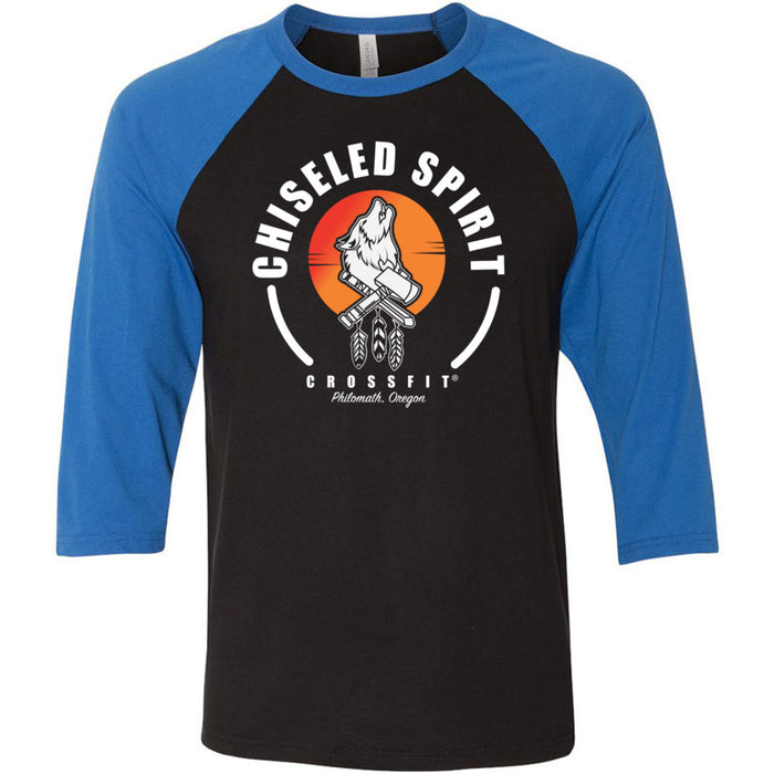Chiseled Spirit CrossFit - 100 - Stacked - Bella + Canvas - Men's Three-Quarter Sleeve Baseball T-Shirt
