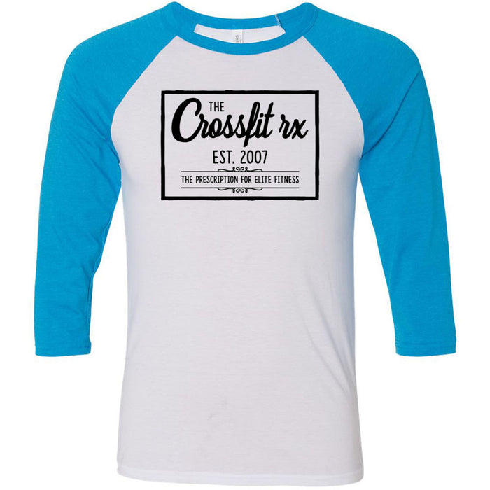 CrossFit Rx - 100 - Old Style - Bella + Canvas - Men's Three-Quarter Sleeve Baseball T-Shirt