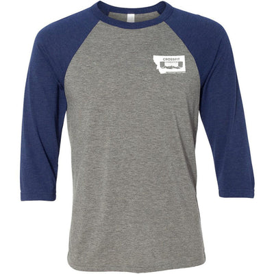 CrossFit Livingston - 100 - Pocket - Bella + Canvas - Men's Three-Quarter Sleeve Baseball T-Shirt