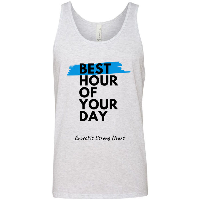 CrossFit Strong Heart - 100 - Best Hour of Your Day Stacked - Bella + Canvas - Men's Jersey Tank