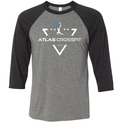 Atlas CrossFit - 100 - Crest - Bella + Canvas - Men's Three-Quarter Sleeve Baseball T-Shirt