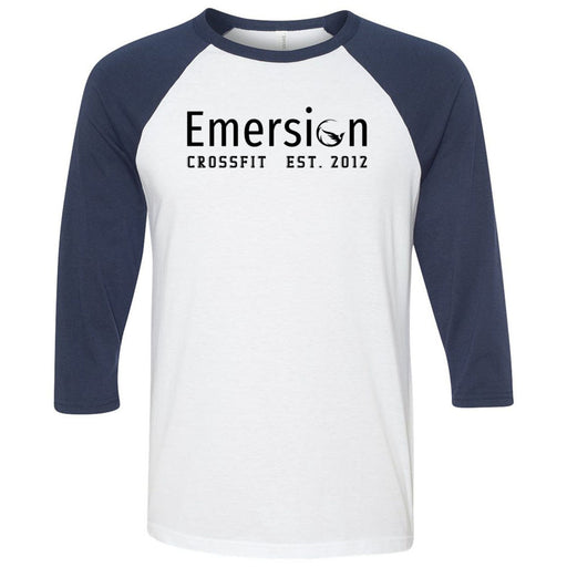 Emersion CrossFit - 100 - Black - Bella + Canvas - Men's Three-Quarter Sleeve Baseball T-Shirt