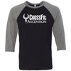 CrossFit Ascension - 100 - Standard - Bella + Canvas - Men's Three-Quarter Sleeve Baseball T-Shirt
