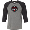CrossFit Visalia - 100 - Barbell - Bella + Canvas - Men's Three-Quarter Sleeve Baseball T-Shirt