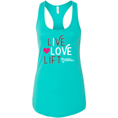 BeachSide CrossFit - 100 - Live.Love.Lift - Next Level - Women's Ideal Racerback Tank