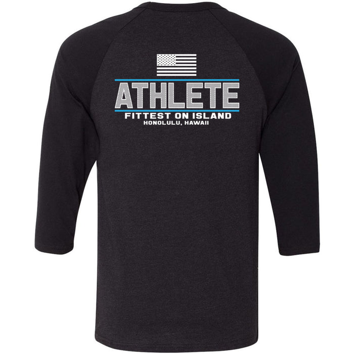 CrossFit Oahu - 202 - Pearl City Blue - Bella + Canvas - Men's Three-Quarter Sleeve Baseball T-Shirt