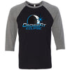 CrossFit Eclipse - 100 - Eclipse - Bella + Canvas - Men's Three-Quarter Sleeve Baseball T-Shirt