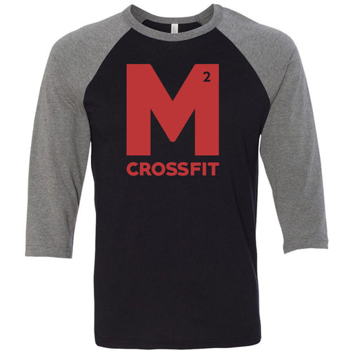 CrossFit M2 - 100 - M2 Red - Bella + Canvas - Men's Three-Quarter Sleeve Baseball T-Shirt