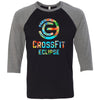 CrossFit Eclipse - 100 - Tropical - Bella + Canvas - Men's Three-Quarter Sleeve Baseball T-Shirt