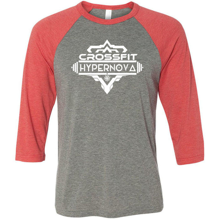 CrossFit HyperNova - 100 - Standard - Bella + Canvas - Men's Three-Quarter Sleeve Baseball T-Shirt