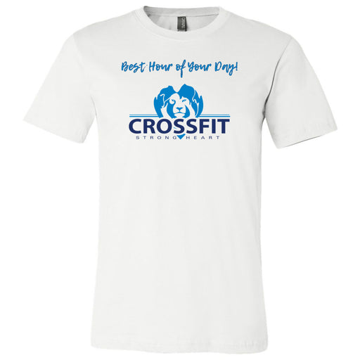 CrossFit Strong Heart - 100 - Best Hour of Your Day - Bella + Canvas - Men's Short Sleeve Jersey Tee