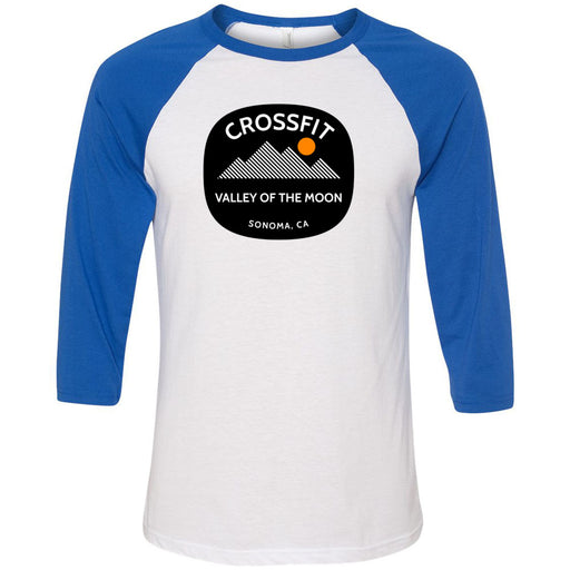 CrossFit Valley of the Moon - 100 - 20 Wilderness - Bella + Canvas - Men's Three-Quarter Sleeve Baseball T-Shirt