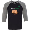 Indy South CrossFit - 100 - Fistbump - Bella + Canvas - Men's Three-Quarter Sleeve Baseball T-Shirt