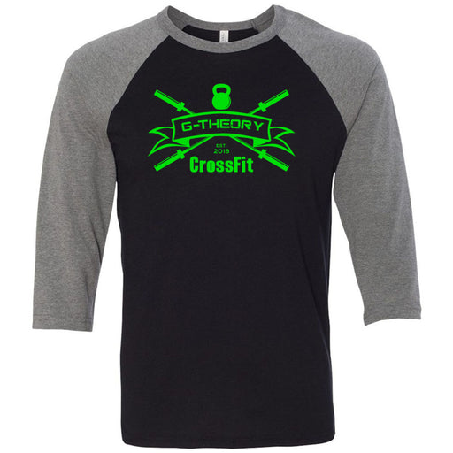 G-Theory CrossFit - 100 - Standard Green - Bella + Canvas - Men's Three-Quarter Sleeve Baseball T-Shirt
