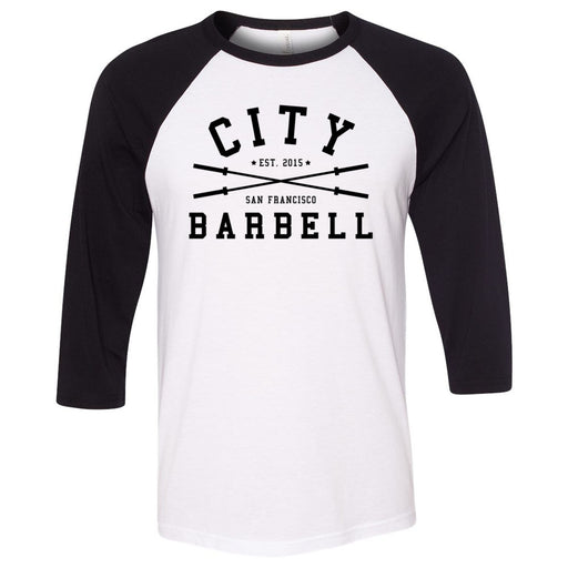 The City CrossFit - 202 - Barbell - Bella + Canvas - Men's Three-Quarter Sleeve Baseball T-Shirt