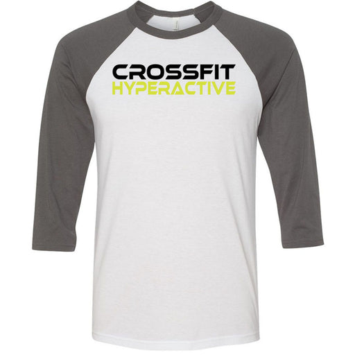 CrossFit Hyperactive - 100 - Standard - Bella + Canvas - Men's Three-Quarter Sleeve Baseball T-Shirt