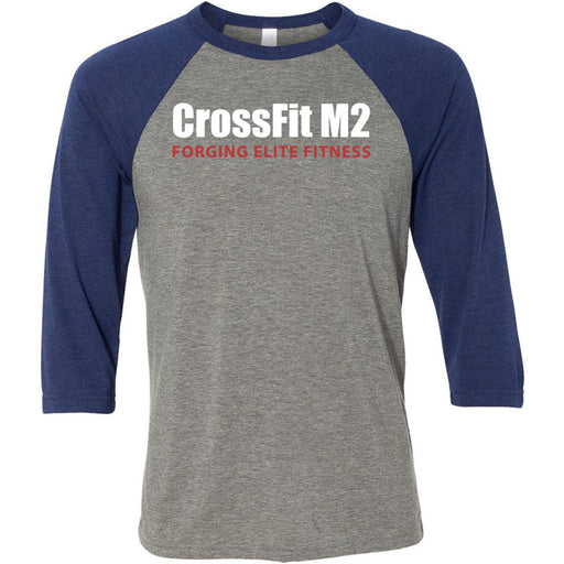 CrossFit M2 - 100 - Forging Elite Fitness - Bella + Canvas - Men's Three-Quarter Sleeve Baseball T-Shirt