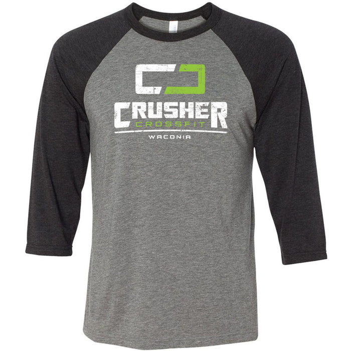 Crusher CrossFit - 100 - Standard - Bella + Canvas - Men's Three-Quarter Sleeve Baseball T-Shirt
