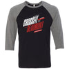 CrossFit Beaumont - 100 - 2020 Open 20.1 - Bella + Canvas - Men's Three-Quarter Sleeve Baseball T-Shirt