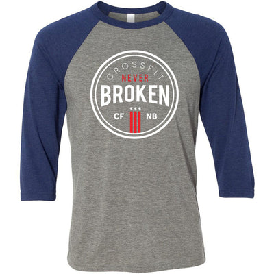 CrossFit Never Broken - 100 - Standard - Bella + Canvas - Men's Three-Quarter Sleeve Baseball T-Shirt