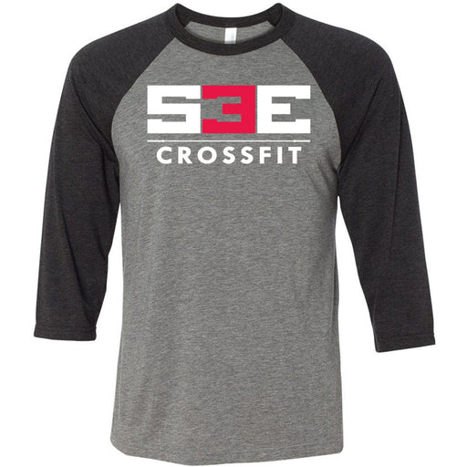 S3E CrossFit - 100 - Standard - Bella + Canvas - Men's Three-Quarter Sleeve Baseball T-Shirt