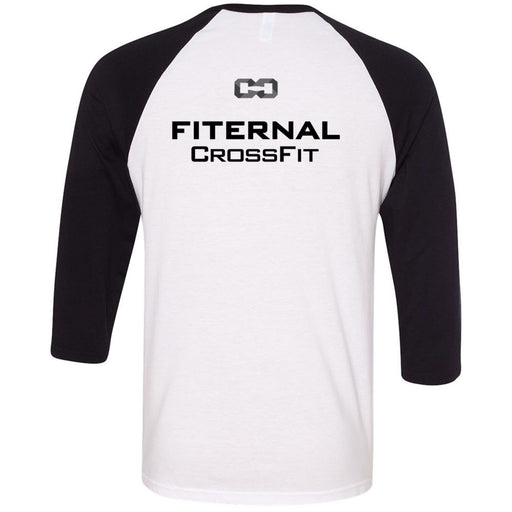 Fiternal CrossFit - 202 - Yoga - Bella + Canvas - Men's Three-Quarter Sleeve Baseball T-Shirt