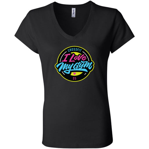 CrossFit S5 - 100 - I Love My Gym - Bella + Canvas - Women's Short Sleeve Jersey V-Neck Tee